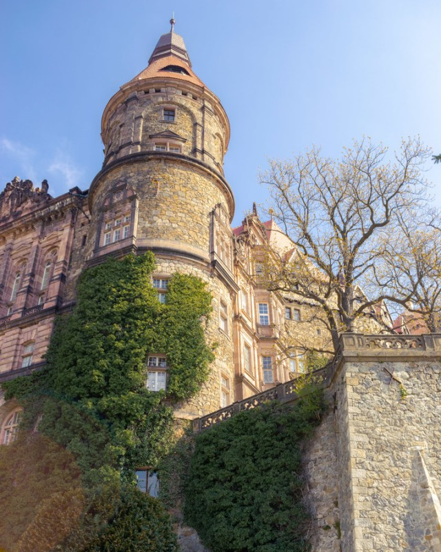 the rear of ksiaz castle in poland