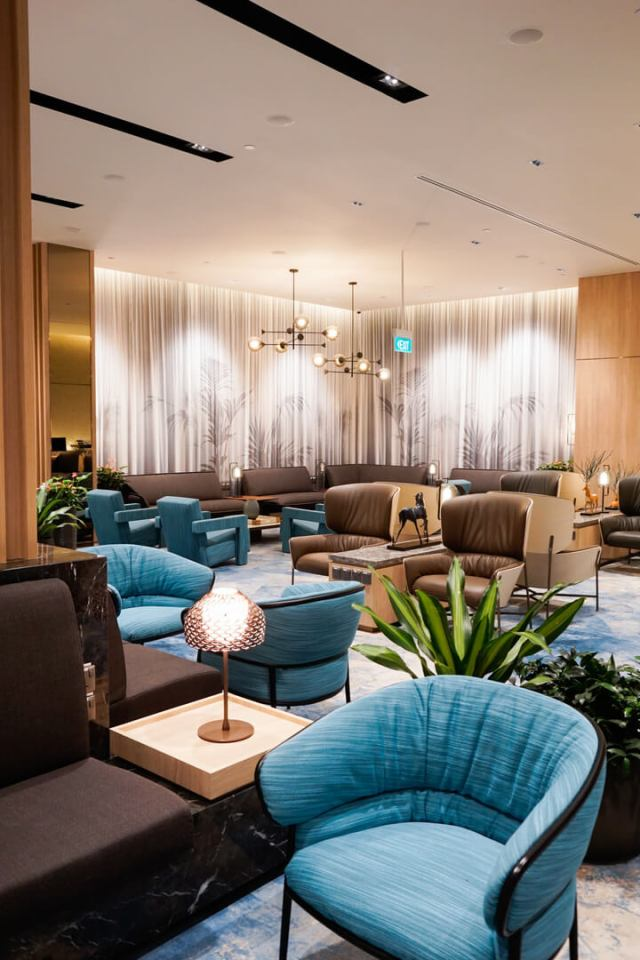 a lounge scene at singapore's changi airport