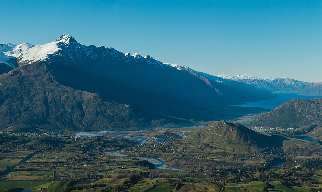 View of valleys from Coronet Peak, Queenstown, NZ