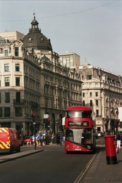 a red london bus on oxford circus