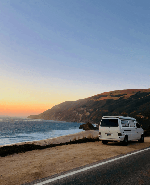 a white van on a road trip in california