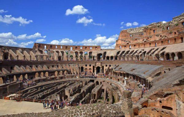 tourists in the roman coliseum