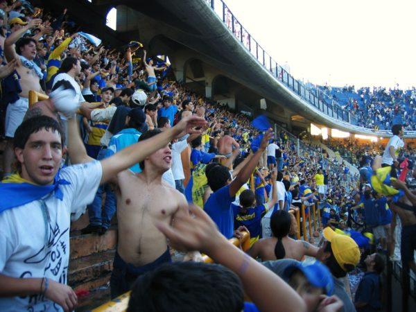 sport fans in the boca juniors stadium