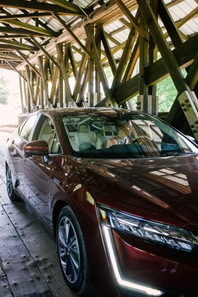 electric car on a bridge