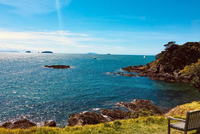 Sparkling ocean from cliff-side view of Waiheke Island