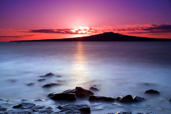 Rangitoto Island against a vivid sunset