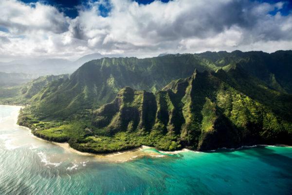 Aerial shot of Kauai