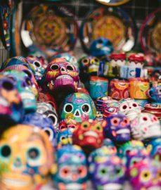 Colorful assortment of sugar skulls, Mexico