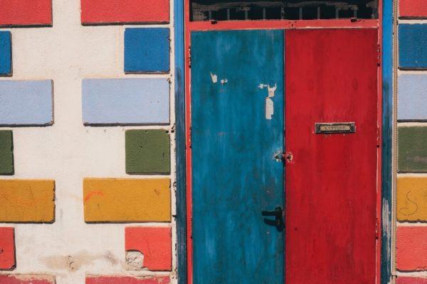blue and red door