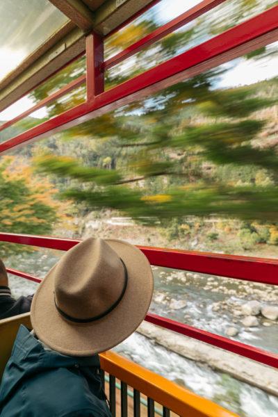 man in hat on train