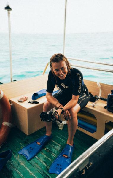 woman in scuba diving gear