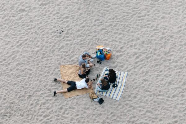 beachgoers having picnic