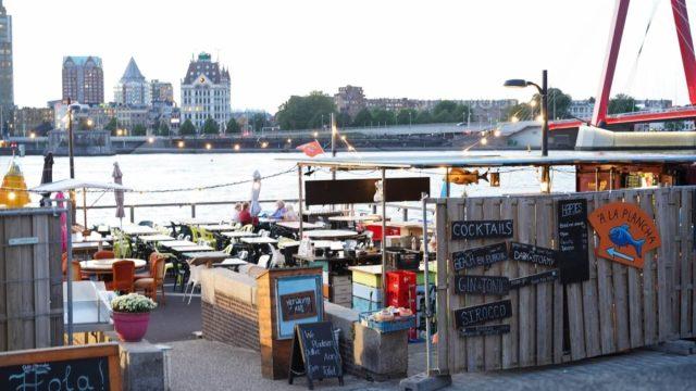 restaurant patio next to waterfront
