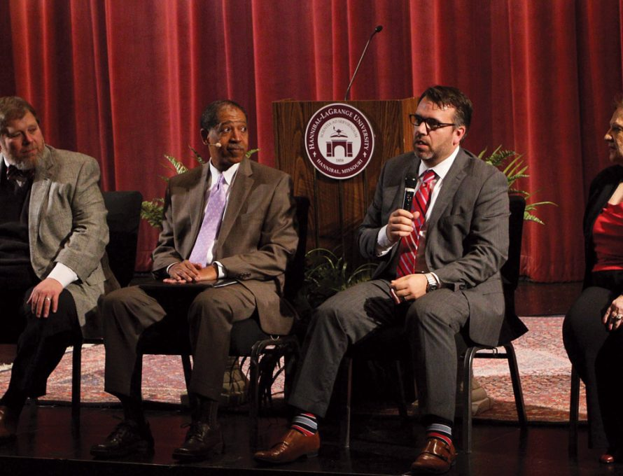 HANNIBAL – John Mark Yeats, Dean, Midwestern College, center-right, shared at the 2016 Worldview Conference regarding adoption.