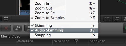 Audio skimming in FCPX