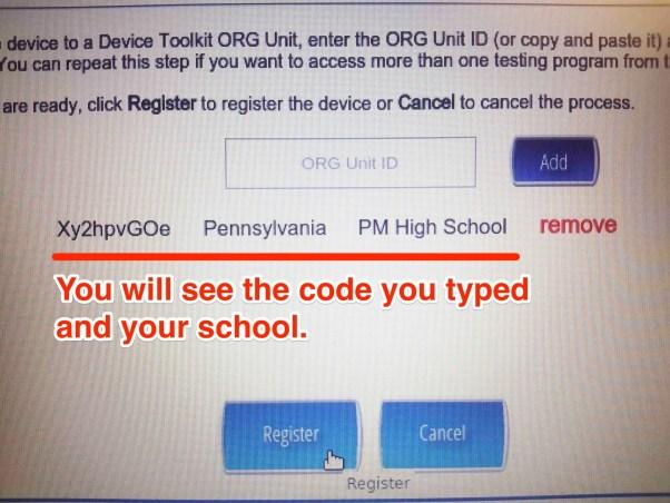 Confirm your school.