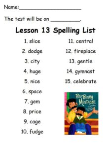 Spelling list for week of December 15th, 2017
