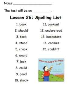 Spelling List for Lesson 26