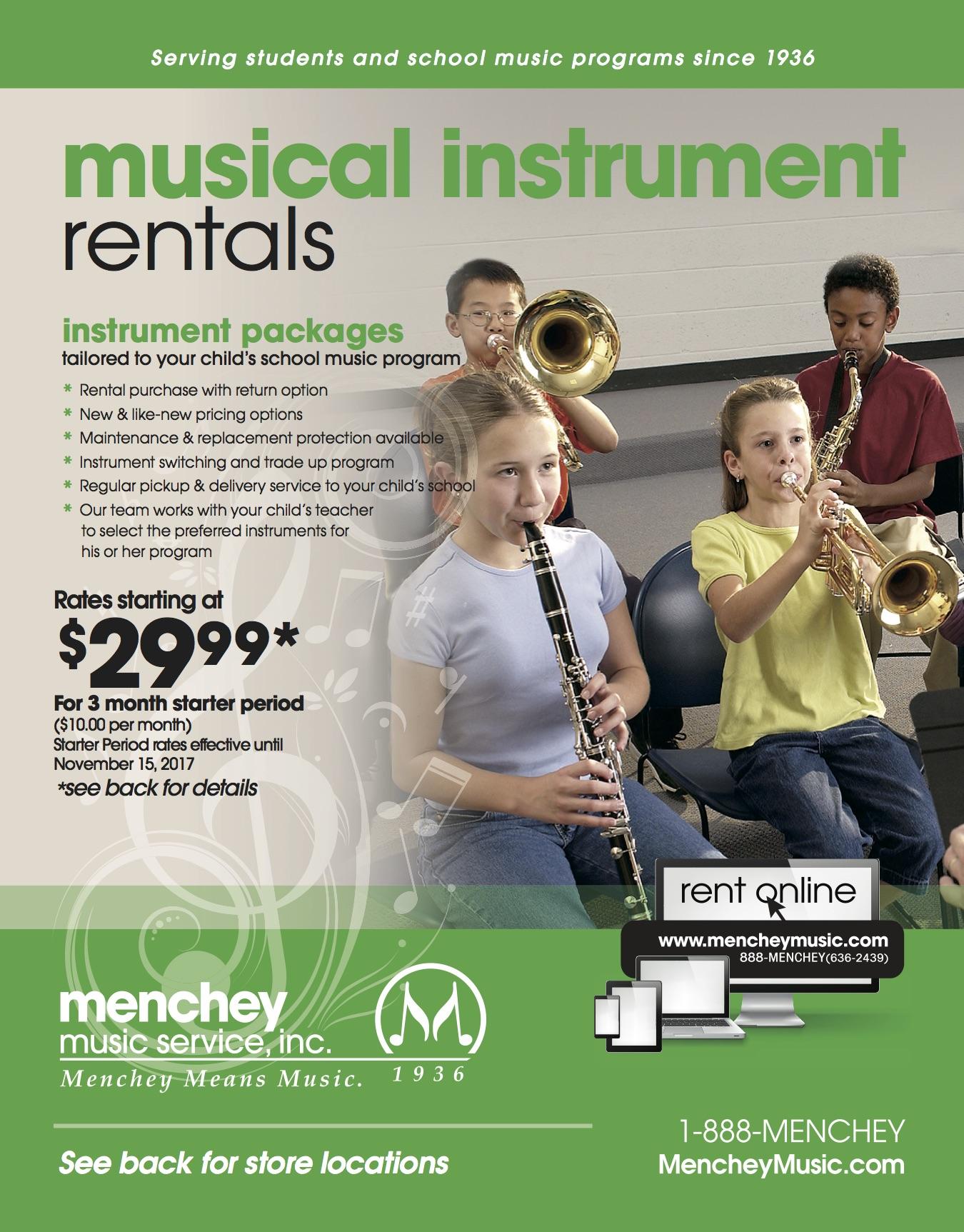 menchey music band rental flyer mrs brubaker music at hambright