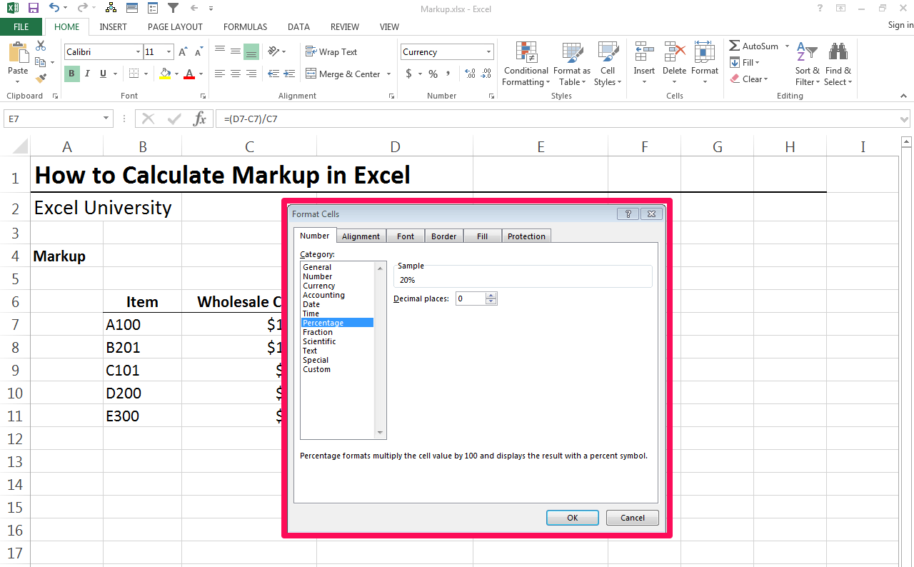 How To Calculate Markup In Excel