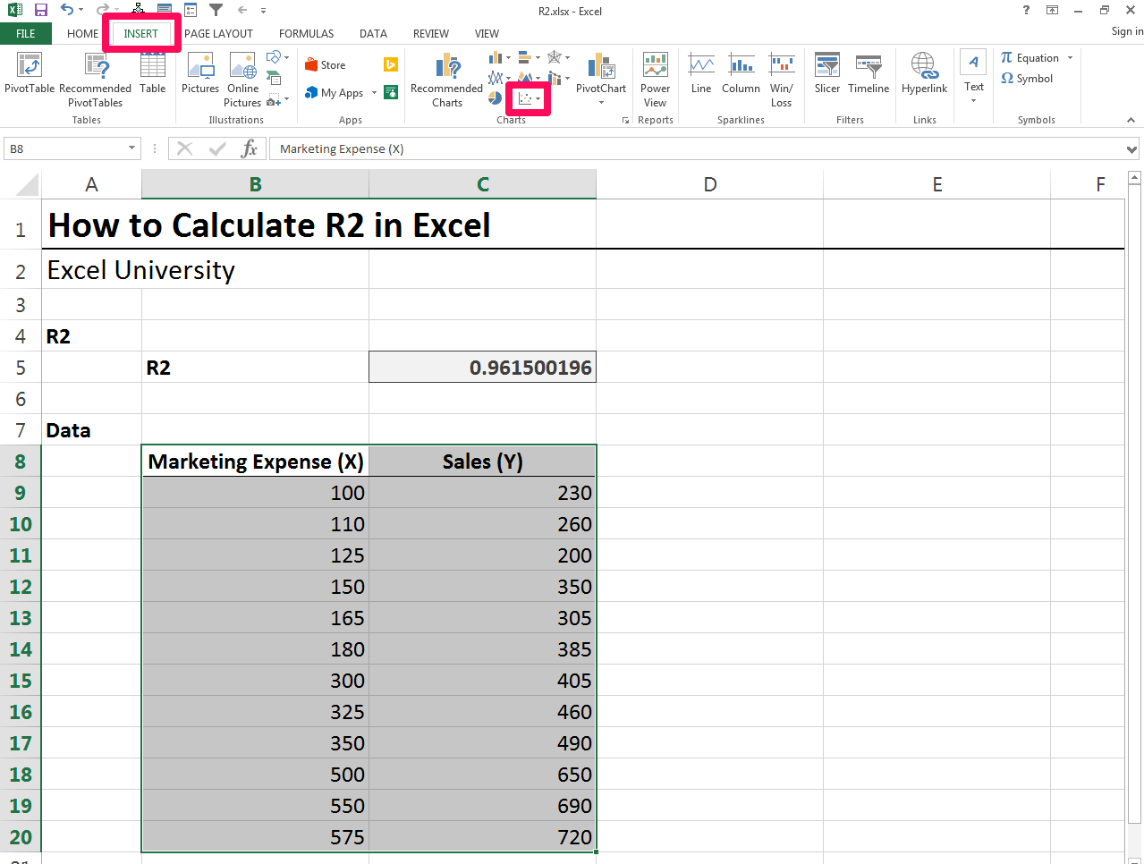 How To Add R Squared Value In Excel