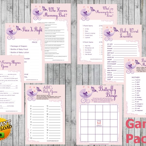 8 Butterfly Baby Shower Games Package