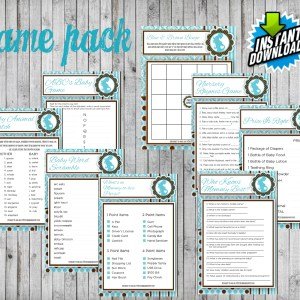 8 Blue & Brown Baby Shower Game Package