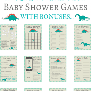 printable baby shower dinosaur games