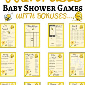 Bumble Bee Printable Baby Shower Set