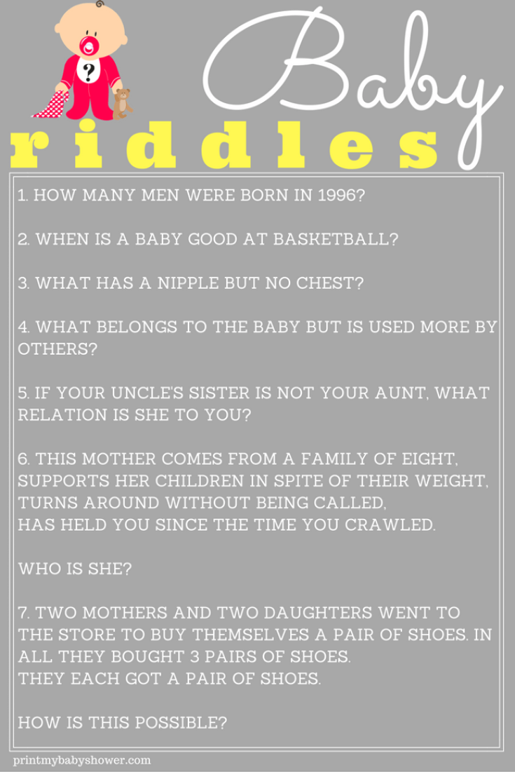 printable baby riddle game