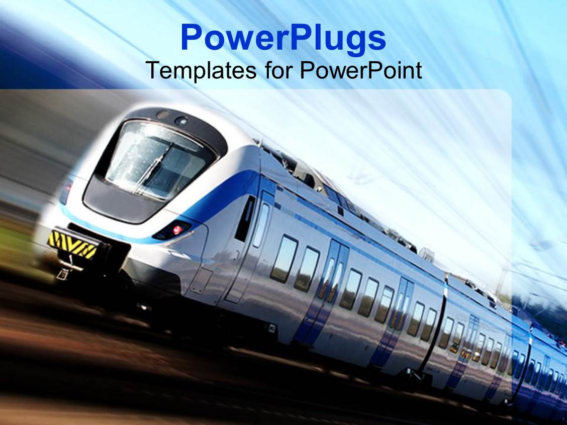 Powerpoint Template Modern High Speed Train In Motion