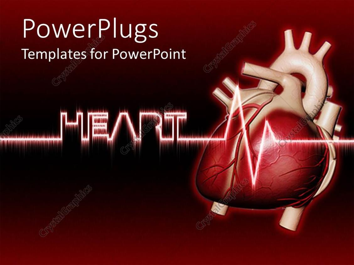 Powerpoint Template Real Human Heart With Heartbeat