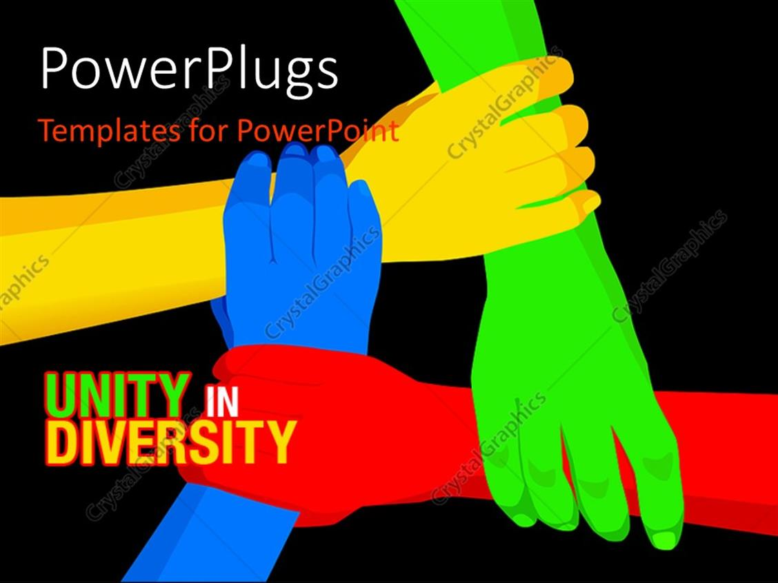 Powerpoint Template Red Yellow Blue Green Linked Hands
