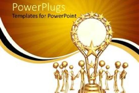 5000  Award PowerPoint Templates w  Award Themed Backgrounds Audience pleasing PPT theme featuring trophy award gold sun yellow white  black stripe background