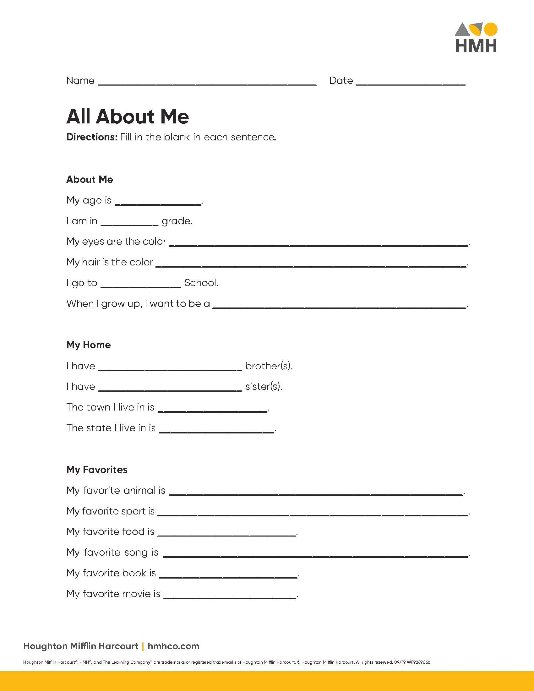 All About Me Activities For Elementary Amp Middle School