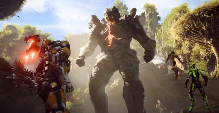 Screenshot of colossal wildlife in Anthem.