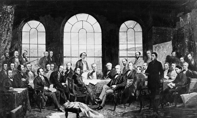 L'image représente un tableau de James Ashfield, représentant les négociations qui menèrent à l'adoption de l'Acte de l'Amérique du Nord britannique de 1867.
