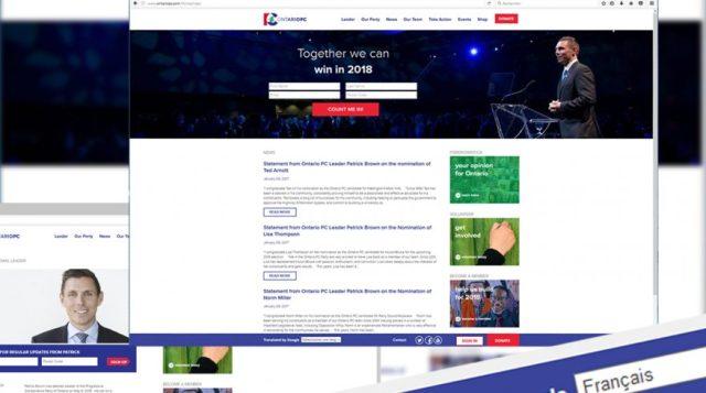 Sur la photo, on retrouve une capture d'écran du site web du Parti progressiste-conservateur de l'Ontario où la version française est faite grâce à une traduction de l'outil Google.