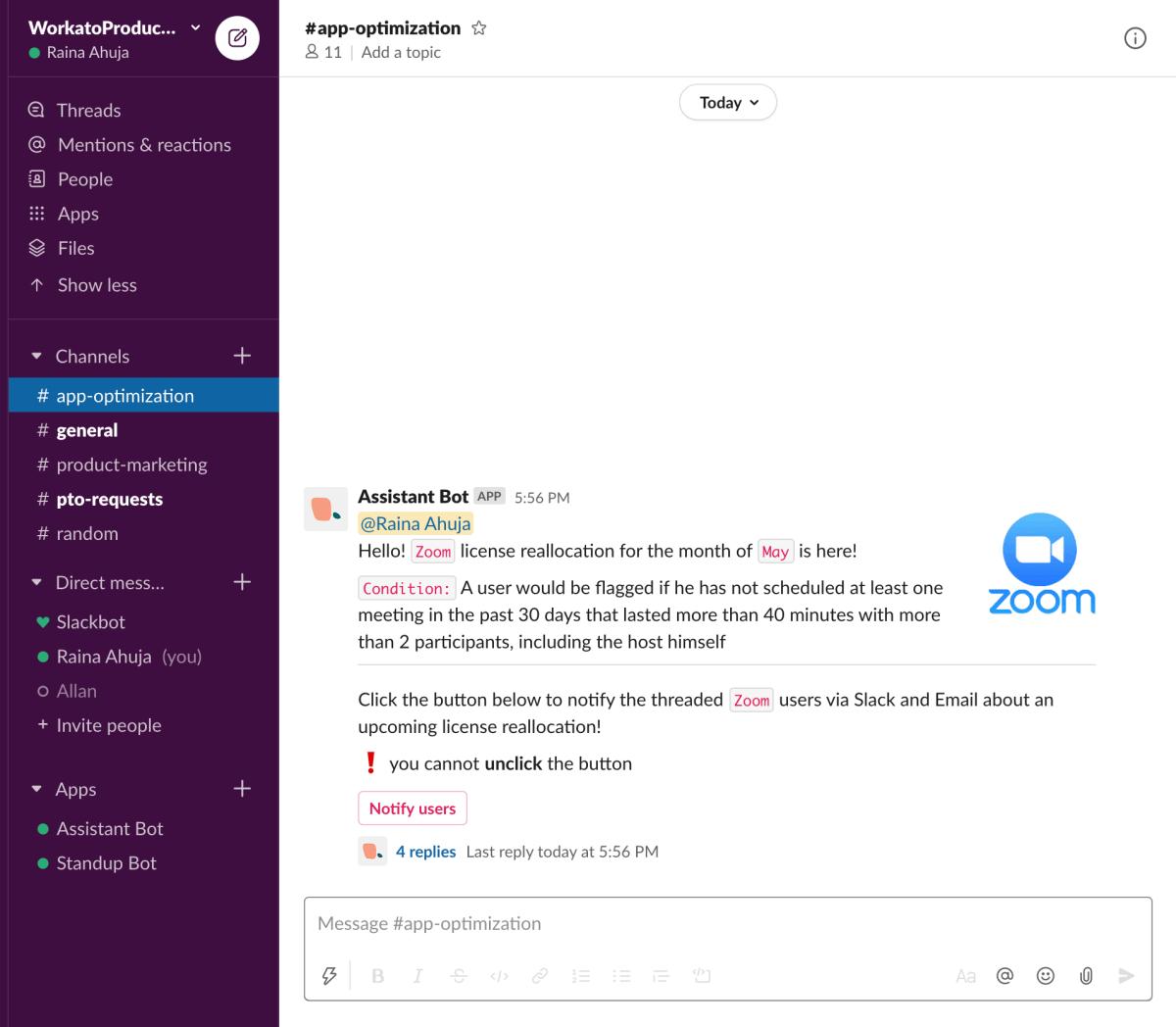 Assistant Bot automates Slack conversations