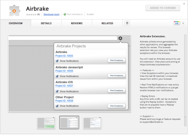 "Announcing the ""Official"" Airbrake Chrome Extension"