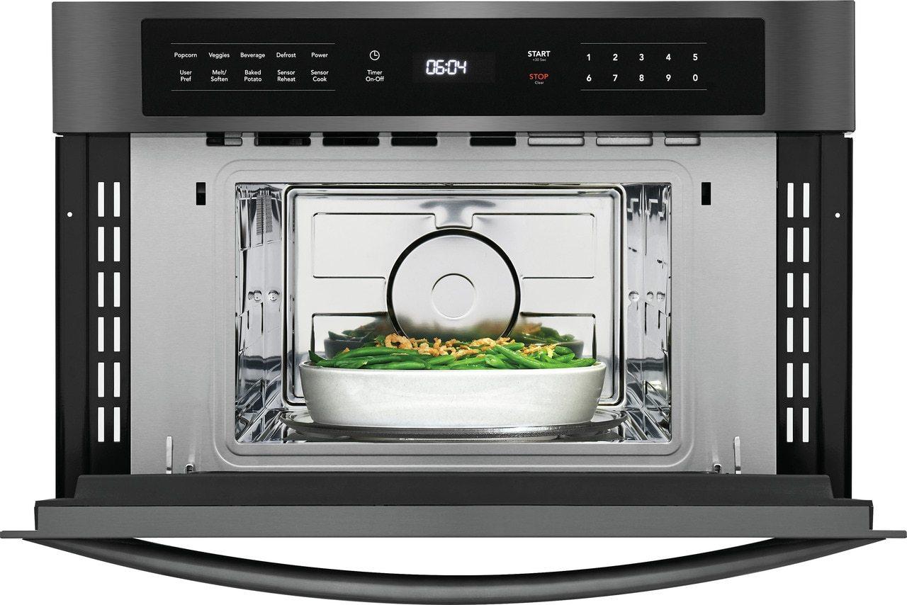 microwave oven with drop down door