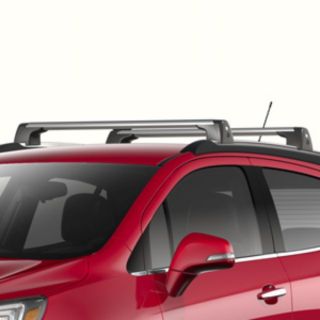 removable roof rack cross rails in brushed aluminum