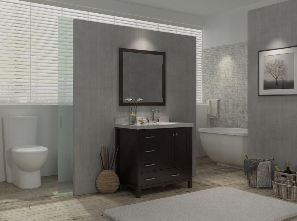 ariel cambridge 37 single sink vanity set w right offset sink in espresso