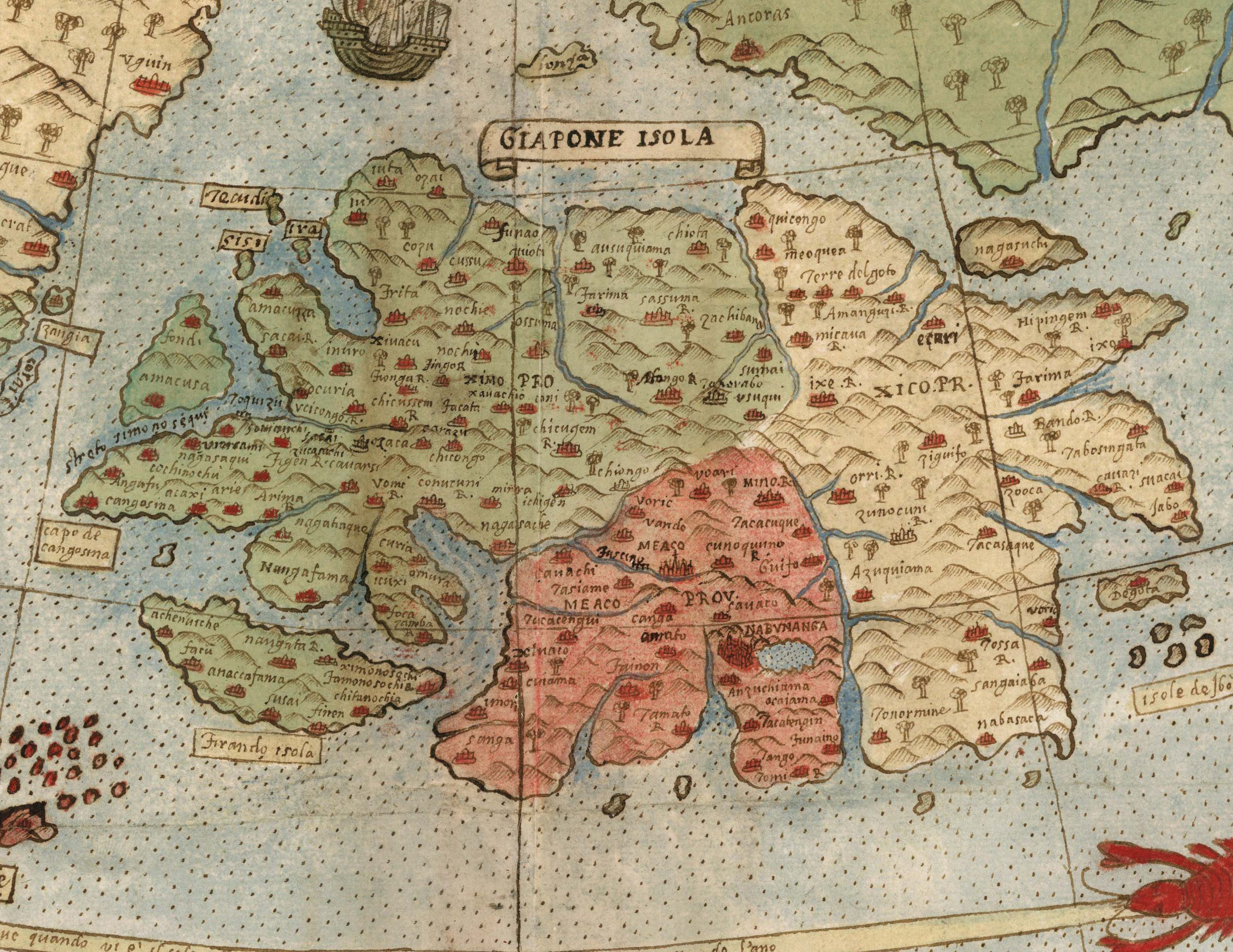 David Rumsey Historical Map Collection   Largest Early World Map     Monte s depiction of Japan is advanced for the time  probably drawing on  information provided to him by the Japanese Embassy to Milan and Italy in  1585