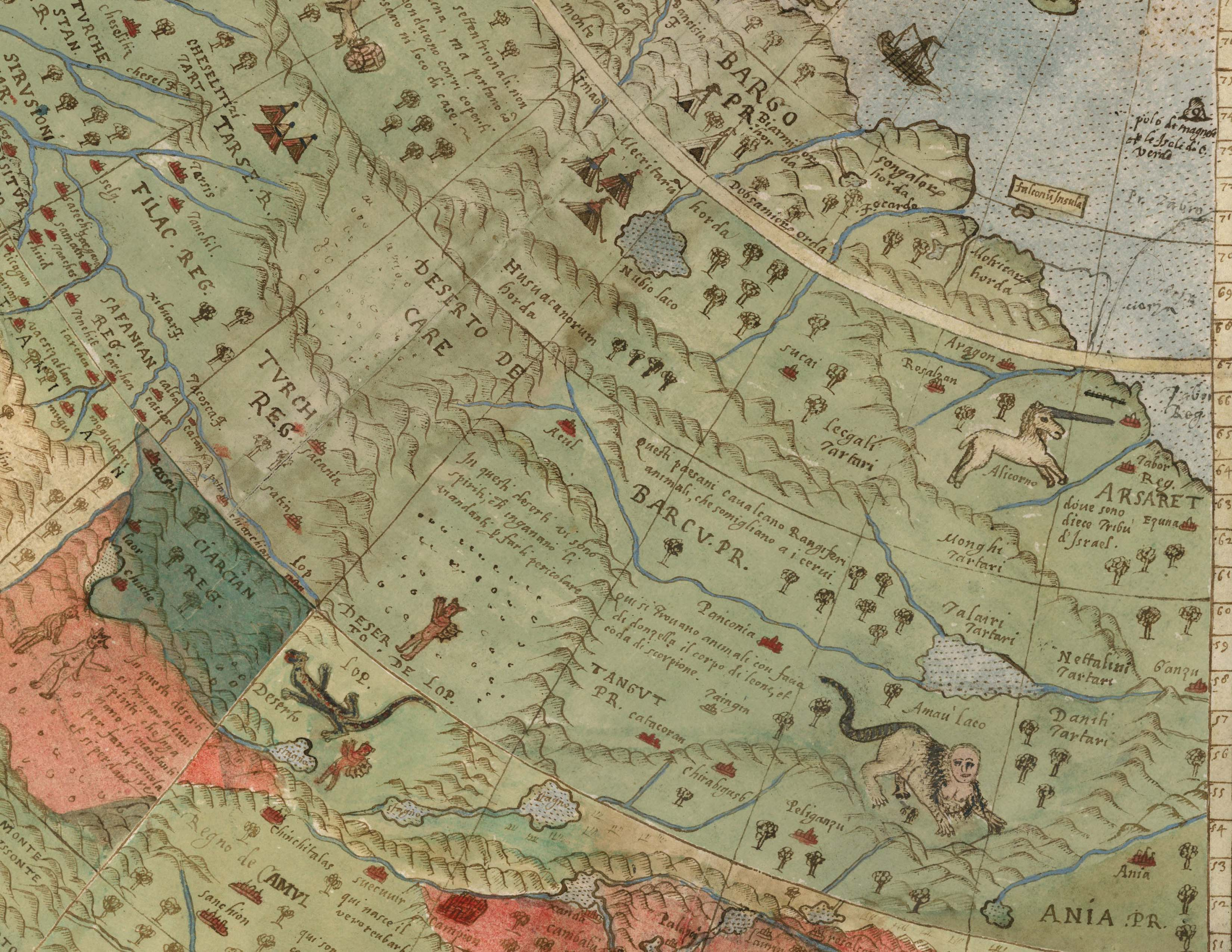 David Rumsey Historical Map Collection   Largest Early World Map     Details of Tavola Seconda  Tavola Ottava  and Tavola Setima  Northern  Siberia  Central Asia