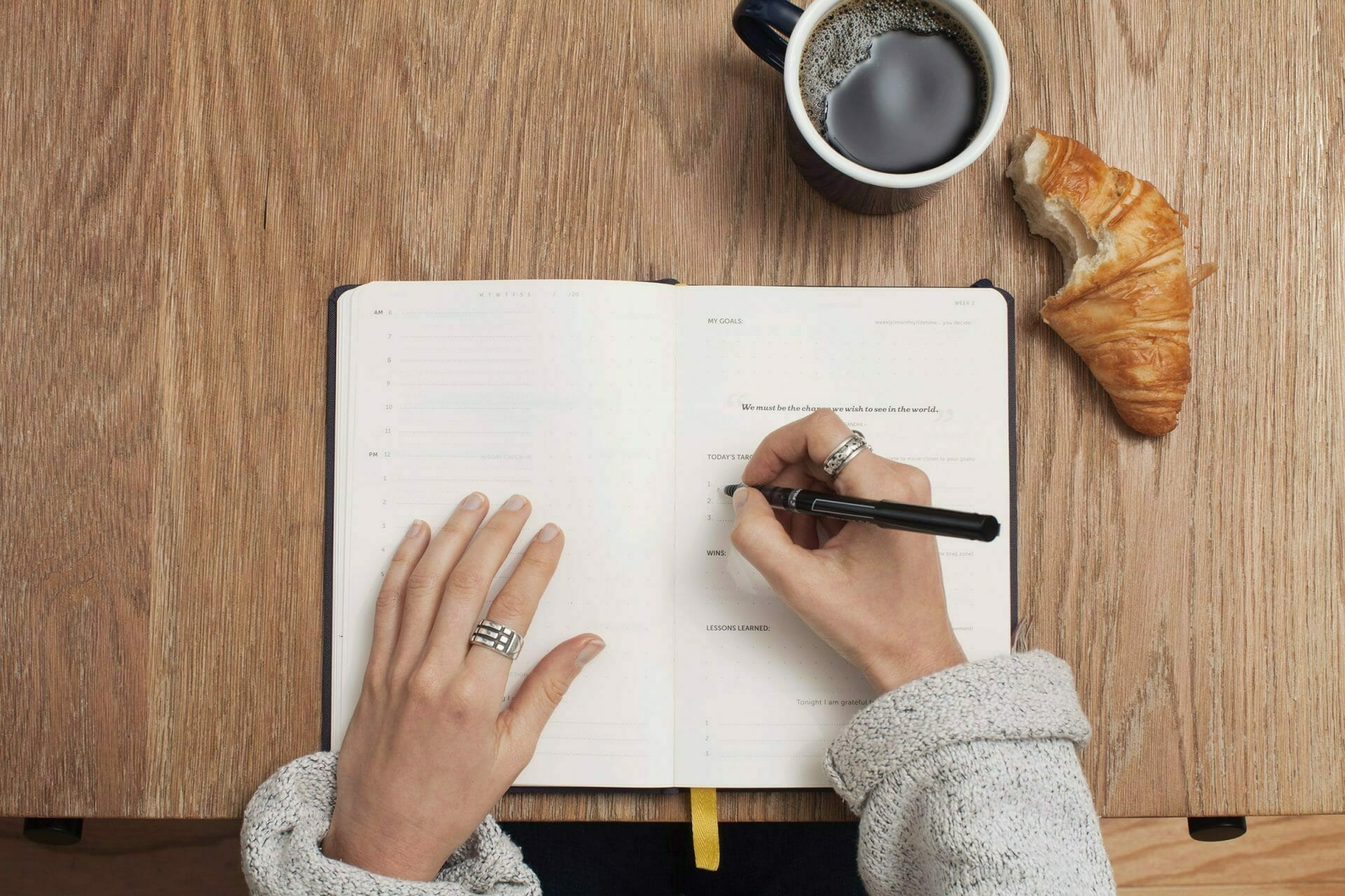 Picture of woman writing in notebook with coffee for Real Wealth Show Podcast Episode #729