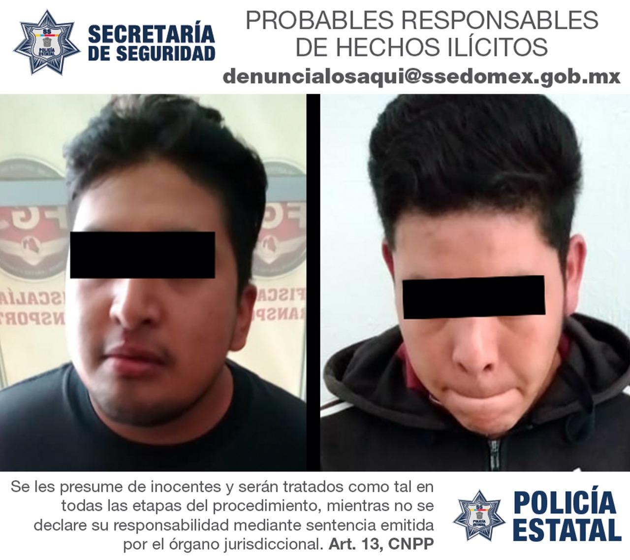 ARRESTAN A DOS PROBABLES RESPONSABLES DEL DELITO DE ROBO CON VIOLENCIA