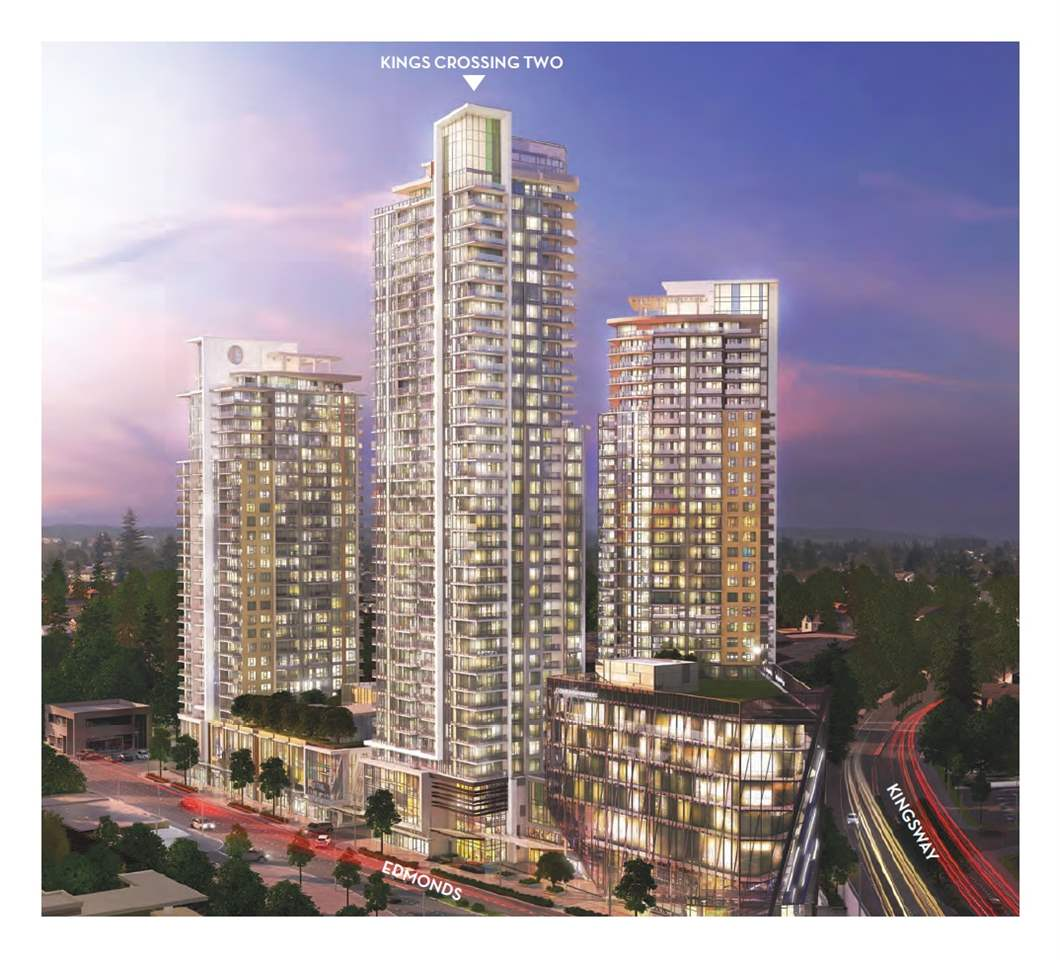 "Kings Crossing TWO by Cressey - $10,000 CREDIT on Completion. Brand NEW Air Conditioned Concrete LARGE 650sf 1 Bedroom + DEN. Everything within walking distance: SkyTrain, Grocery Store, Community Centre, Parks and Public library etc. It's an integrated urban community comprised of three unique residential towers, linked by an elevated landscaped courtyard w/ multipurpose gym & squash court, Steam & Sauna, Outdoor Fireplaces and Big Screen Amphitheatre, Multimedia Lounge & Game room. Concierge Service offer Convenience & Security. Featuring Famous Cressey Kitchen w/ ""chef's wall"" which integrates TWO fridges, a Dual freezer & plenty of storage, European Appliances. ONE Parking & Locker. 1 Yr FREE Internet & TV. ASSIGNMENT OF CONTRACT. Completion 2019. Please CALL now and this WON'T LAST."