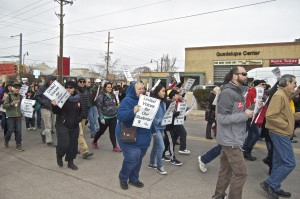 A rally by AFT-New Mexico opposing PARCC testing.  Photo by Margaret Wright.