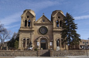 St. Francis Cathedral in downtown Santa Fe sits a few blocks away from the State Capitol building. Photo credit: David Bailey